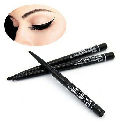 2pcs Waterproof Rotary Gel Cream Eye Liner Black Makeup Cosmetic Eyeliner Pen LJ