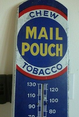 "Vintage 38"" metal Mail Pouch Advertising Thermometer that Works!!"