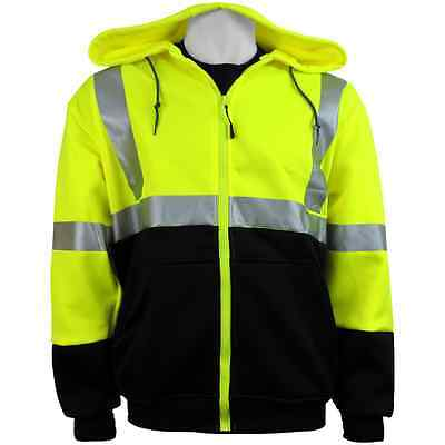 Hi Visibility Hooded Sweatshirt, Class 3 Safety Hoodie, Size: Large, GLO-HS2-L