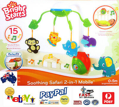 Aus Qlty Bright Starts Soothing Safari 2 in 1 Musical Baby Cot/Bed/Crib Mobile
