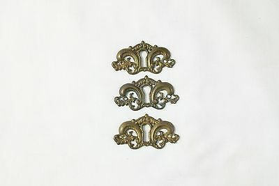3 Matched Ornate Antique Cast Brass  Key Hole Cover Escutcheons Chest Washstand