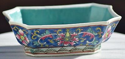 Antique Chinese Porcelain Famille Rose Republic Period Turquoise Bowls Enameled