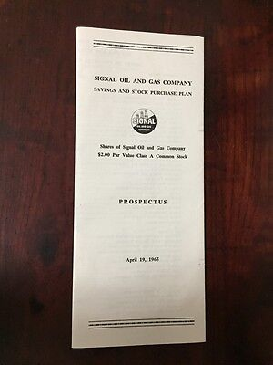 Vintage Collectible Document Signal Oil Gas Company Prospectus 1965 Savings Plan
