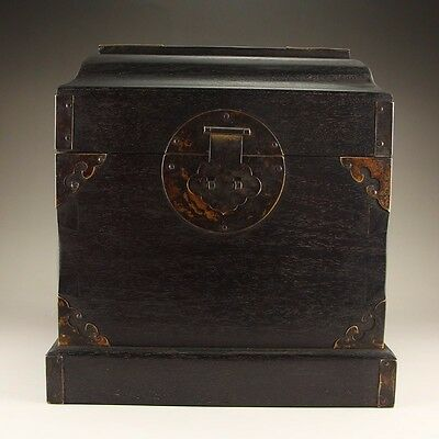 Antique Chinese Qing Dynasty Zitan Wood Seal Box