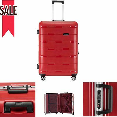 """Red Luggage Carry On Suitcase Travel Set Bag Lock Box Trolley Spinner TSA US 28"""""""