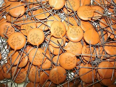 20 pack NOS 103M .01uf 1000v 1kv KCK Y5U Ceramic Disc Capacitors With long Leads