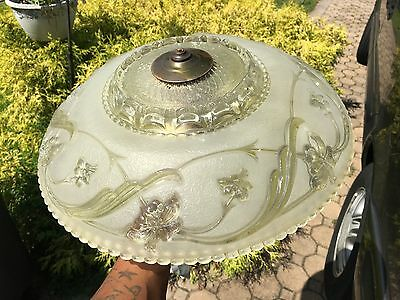 Antique Art Deco Chandelier Stunning Antique Frosted Glass Shade L@@K