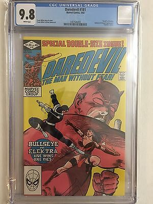 """Daredevil 181 CGC 9.8 WHITE Pages """"Death"""" of Elektra Frank Miller Key Issue 1982"""
