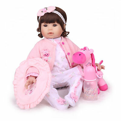 "20"" Reborn Baby Dolls Handmade Birthday Gift Vinyl Silicone Cloth Body Girl Doll"