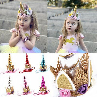 Kids Baby Unicorn Horn Head Party Hair Headband Fancy Dress Cosplay Costume
