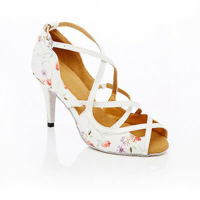 NEW! White Floral High Heel Bridal, Ballroom, Latin Dance Shoes Size 41