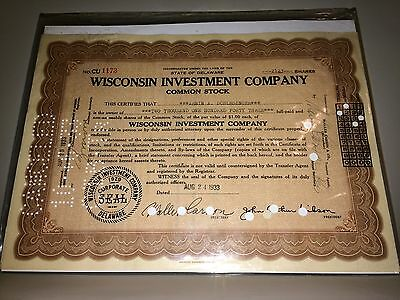 Vintage Delaware 1929 Wisconsin Investment Company Common Stock Certificate
