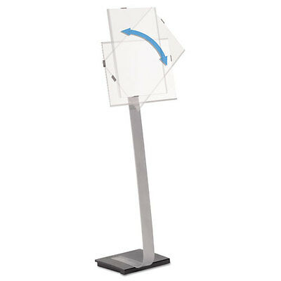 Info Sign Duo Floor Stand, Tabloid-Size Inserts, 15 x 44 1/2, Clear