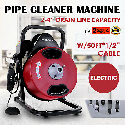 50FT*1/2'' Drain Auger Pipe Cleaner Cleaning Machine Plumber Tool  Portable New