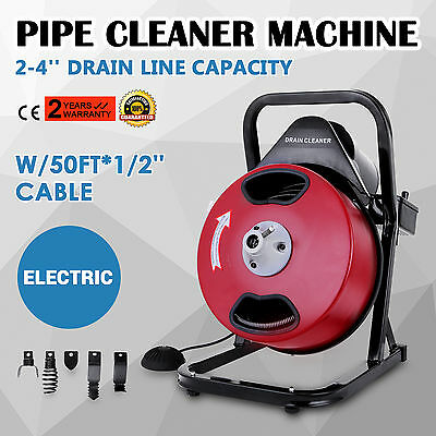 50FT*1/2'' Drain Auger Pipe Cleaner Cleaning Machine Flexible Safe Commercial
