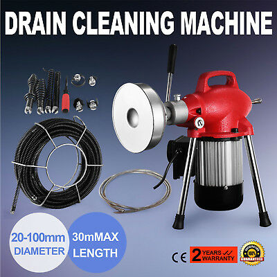 """3/4""""-4""""Dia Sectional Pipe Drain Cleaner Machine Professional Quality W/Cable Hot"""