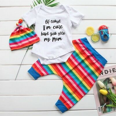 Newborn Infant Baby Girls Boy Top T-shirt Romper Pants Clothes Outfits Set 0-24M
