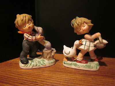 VTG 2 Royal Crown Child Life Hand-painted Boy with Puppy & Girl with Goose Japan