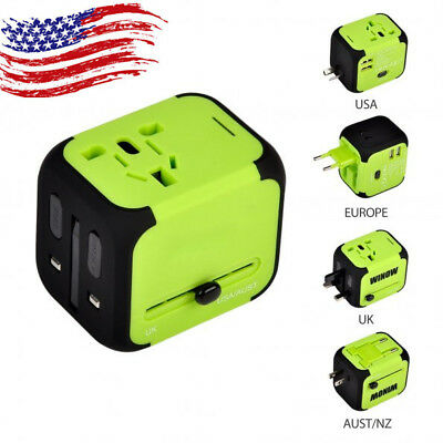 Universal Travel Adapter Power AC Wall Charger International Socket w/ Dual USB