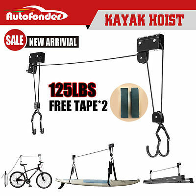 125LBS Kayak Hoist Pulley System Bike Lift Garage Ceiling Storage Rack Free Rope
