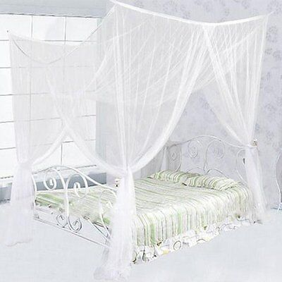 4 Corner Post Bed Canopy Mosquito Net Full Queen King Size White Netting Bedding