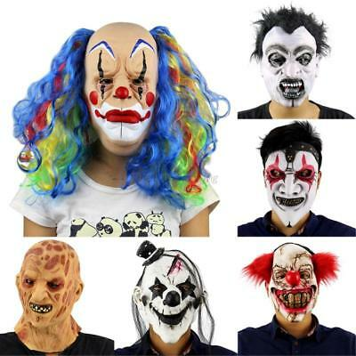 AU Scary Latex Horror Clown Halloween Mask Masquerade Party Costumes Dress Up