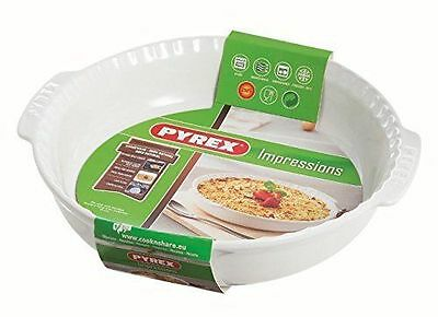 Pyrex 24cm White Round Stoneware Impressions Pie Dish with Handles ONLY £6.99