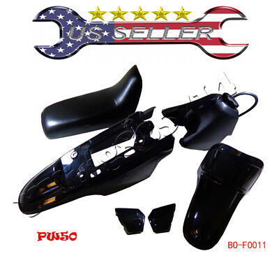 NEW Yamaha PW50 PY50 PW 50 Plastic Fender Body Seat Gas Tank Kit BLACK
