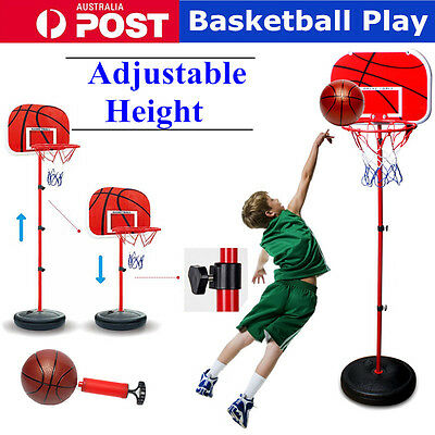 Adjustable Height Junior Kids Portable Basketball Play Toy Set Stand Hoop Ring