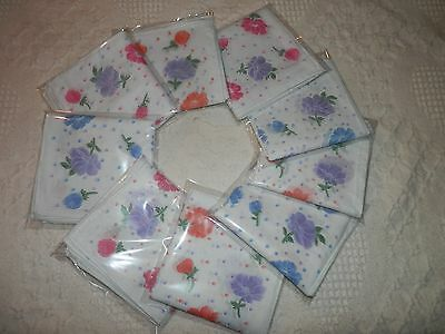 Ladies 100% Cotton Floral Handkerchiefs 6 Pack