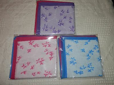 Ladies 100% Cotton Autumn Leaf Design Handkerchiefs 6 Pack