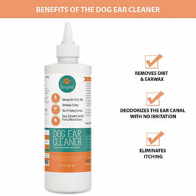 Dog Cat Ear Cleaner Safe Gentle Natural Drops for Itching Yeast Mites Infection