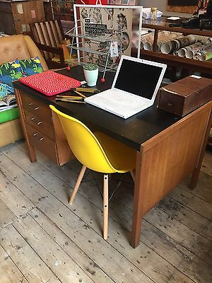 Vintage mid century vinyl topped desk with 3 drawers - Collection Colne, Lancs