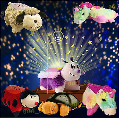 Animal Cuddle Pet Pillow Cushion Dream Night Light Bed Lites Kids Childrens Toy
