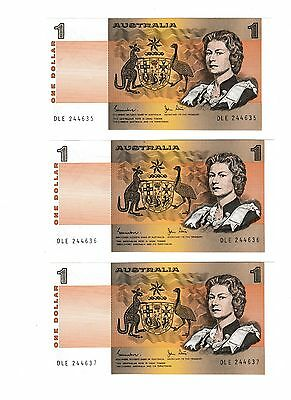 Australian 3 X Uncirculated Mint Consecutive $1 One Dollar Paper Notes1983 -1984