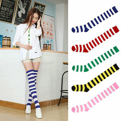 Sexy Women Girl Thigh High Striped Over the Knee Socks Cotton Stockings ZI