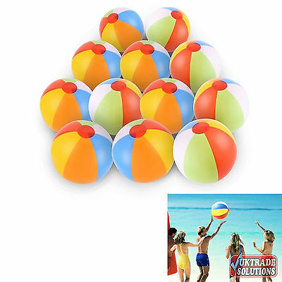 12 Pack Rainbow Beach Ball Inflatable Pool Toys Kids Soft Party Sand Water Game