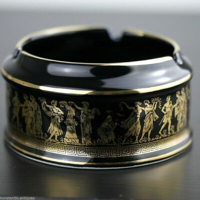 Vintage hand made 24ct Gold plate pottery ashtray Greek Royal blue colour gift