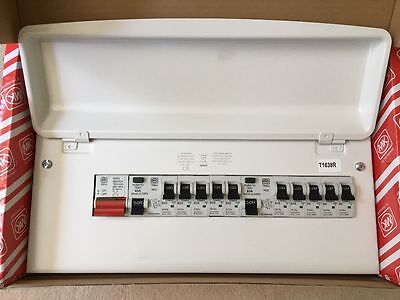 MK K7666SMET Amendment 3 Metal Consumer Unit 10 Way Dual RCD Fuseboard &10 MCBs