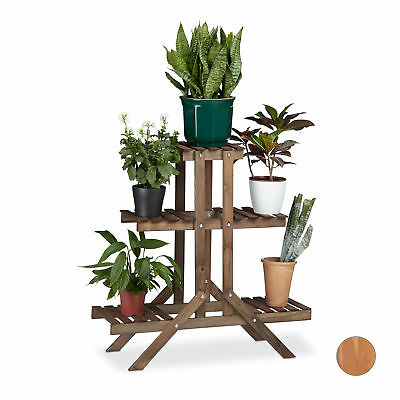 3-Tier Flower Stairs, Wooden Plant Etagere Display Rack, Stand with 5 Shelves