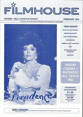 JOAN COLLINS - Vintage FILMHOUSE Magazine dated February 1994 Re:DECADENCE F#28