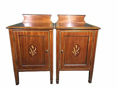 Fine pair of mahogany and satin wood bed side cabinets