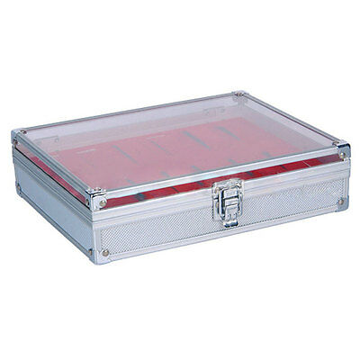 Red 12 Grid Jewelry Wrist Watches Display Collection Storage Box Case Aluminium