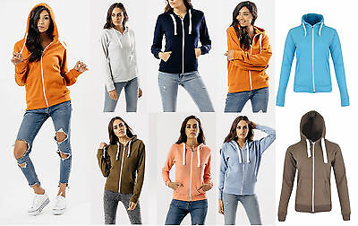 Girls Ladies New Zip Up Sweatshirt Hooded Plus Size Hoodie Coat Jacket Top S-XL