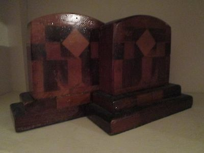 """Art Deco Vintage Wood Bookends Solid with Inlay Design 5.5"""" tall"""
