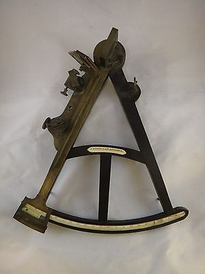 "Rare English 19th cent. Mariner's Sextant, three mirrors, back sights,14"" I. arm"