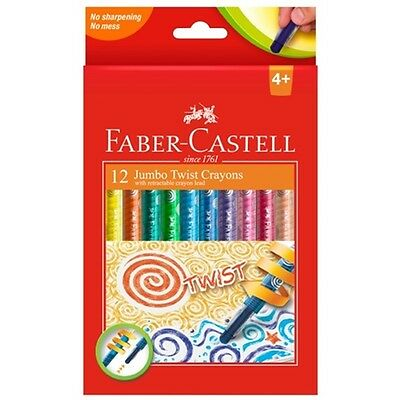 Faber-Castell Jumbo Twist Crayon Retractable Pk12 Art Crafts School Kids Artist