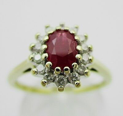 Gorgeous 9ct Gold Ruby & Diamond Cluster Ring.  Size L1/2