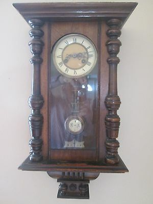 Vintage Viennese wall clock with key - 19th c Victorian - Vienna