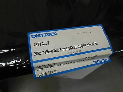 DIETZGEN 432YA257 20 LB YELLOW TINT BOND 24x36 250 SHEETS NOS